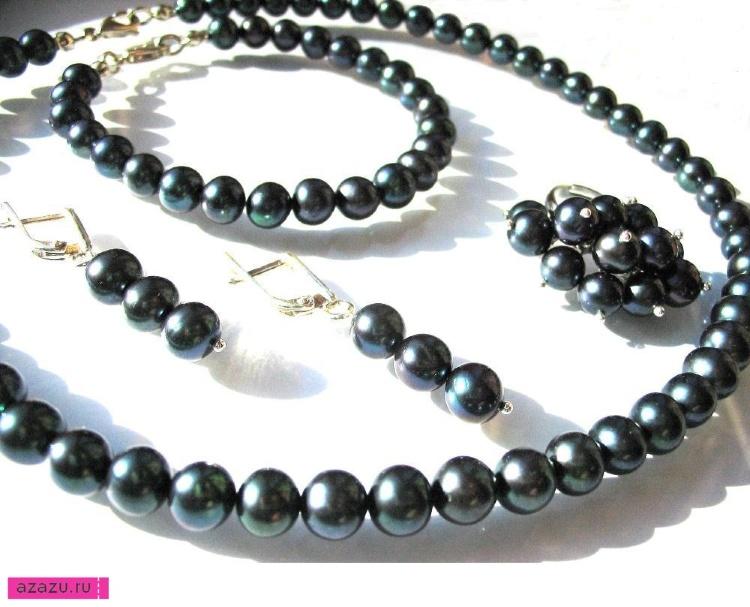 Украшения с натуральным черным жемчугом, комплект *10689 Бусы, браслет, серьги и перстень из натурального культивированного черного жемчуга.