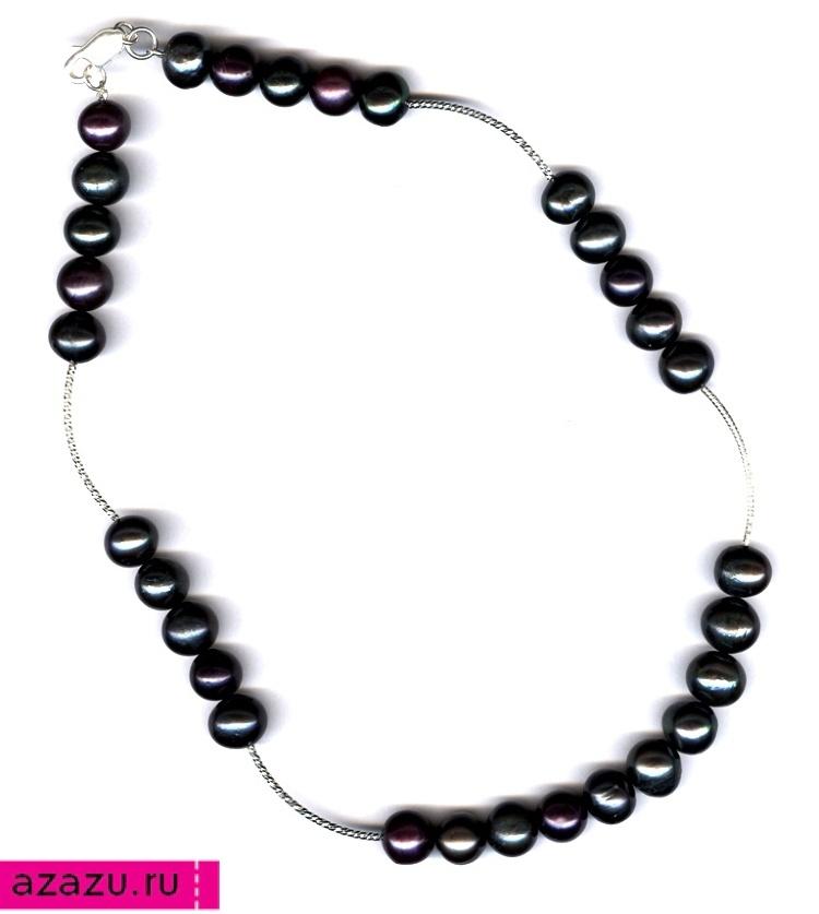 Ожерелье из 30 жемчужин черного цвета с серебром *5607 Роскошное серебряное ожерелье с 30 жемчужинами черного цвета. Идеальный подарок от мужа на 30-ю годовщину супружеской жизни.