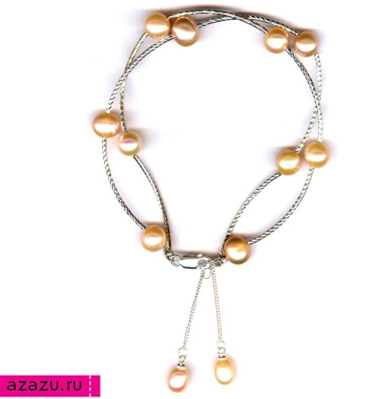 Браслет серебряный с розовым жемчугом *5610 Браслет серебряный с натуральным розовато-персиковым жемчугом. Серебряные трубочки и цепочки.