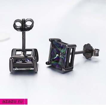 Мистик-фианит - серьги пусеты *6039 Некрупные квадратные сережки-гвоздики с мистик-фианитом.