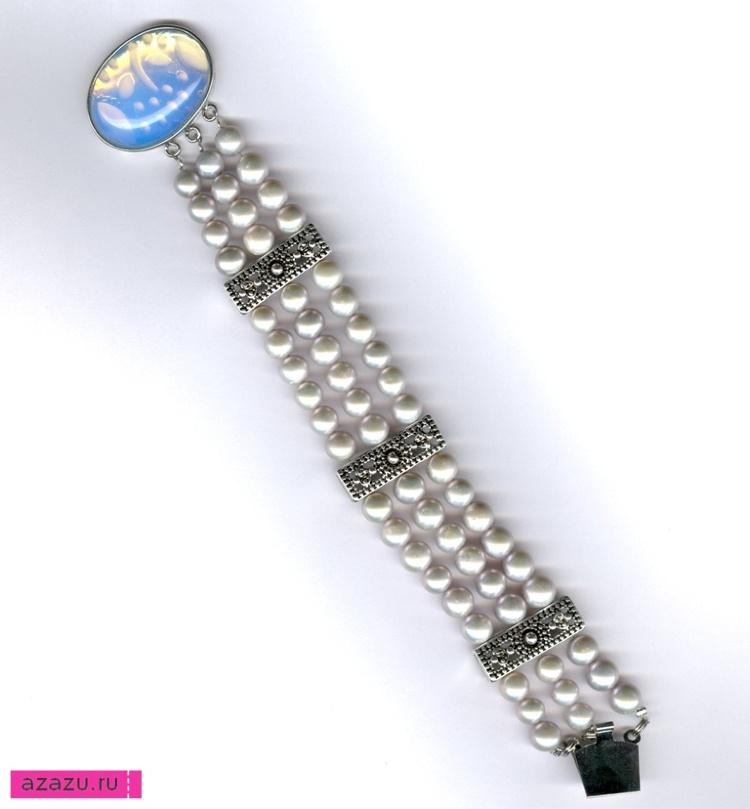 Браслет в три ряда из серебристого жемчуга *5542 Натуральный голубой жемчуг. Браслет в три ряда с застежкой.
