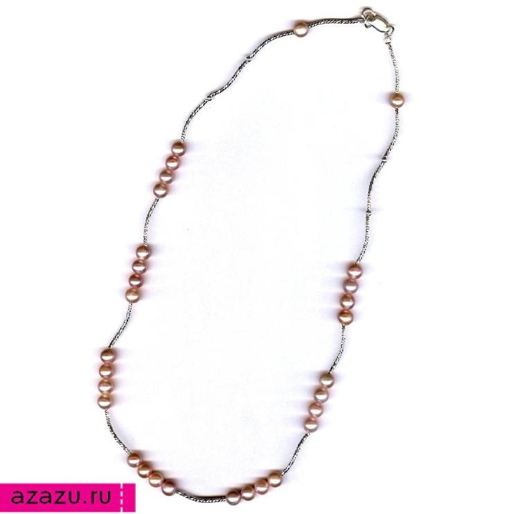 Ожерелье 30 жемчужин сиреневого цвета *5649 Купить колье 30 жемчужин можно в нашем интернет-магазине. Жемчуг лавандовый, диаметр 7 мм, серебро.