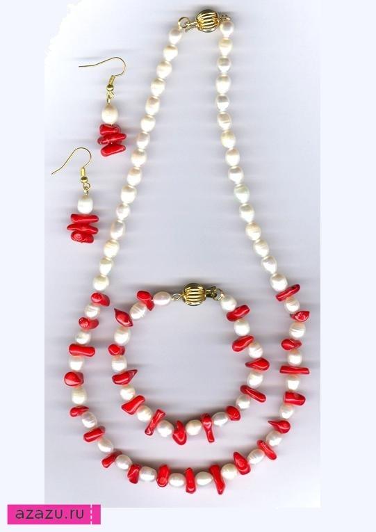 Коралловые серьги и браслеты