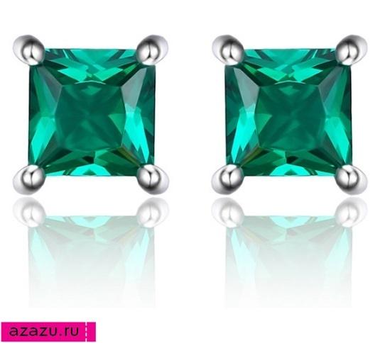 Квадратные серьги изумруд - красивый зеленый камень *5960 Лабораторный изумруд, произведенный в России, - красивый зеленый камень в серебре. Квадратные серьги.