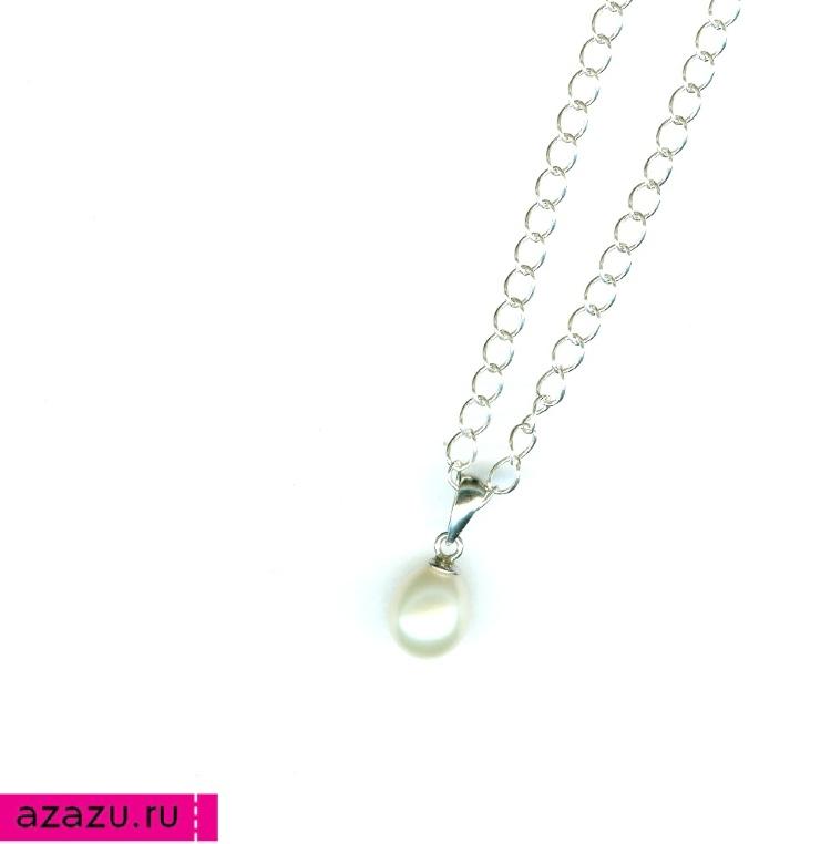 Кулончик с жемчужиной в форме капли на серебряной цепочке *5763 Кулончик с натуральным камнем синего цвета - лазуритом.