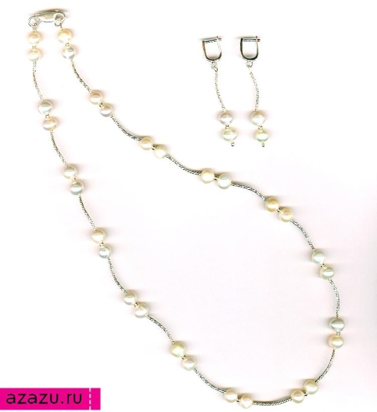 Серебряные серьги и колье из 30 жемчужин на жемчужную свадьбу *5665 Бусы длиной 53 см с серебром и натуральными жемчужинами. Идеально как подарок на жемчужную свадьбу. В комплект украшений входят также серьги.