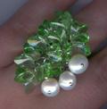 """Перстень """"Бабочки"""" - натуральный белый жемчуг и кристаллы Сваровски в форме бабочек*11057 Материал: кристаллы Сваровски, натуральный жемчуг."""