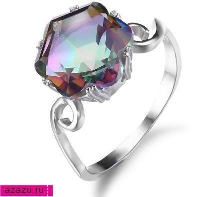 Элегантное серебряное кольцо с мистическим топазом *5972 Перстень с мистик топазом. Украшение с роскошным драгоценным камнем в серебре.