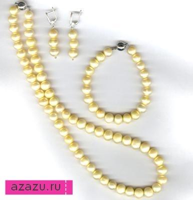 Комплект украшений с цветным - желтым жемчугом натуральным  10756 82085a6c2fc
