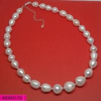 Красивое украшение из белого барочного жемчуга с серебром *6188