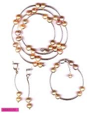Комплект украшений с серебром и розовым жемчугом *5589