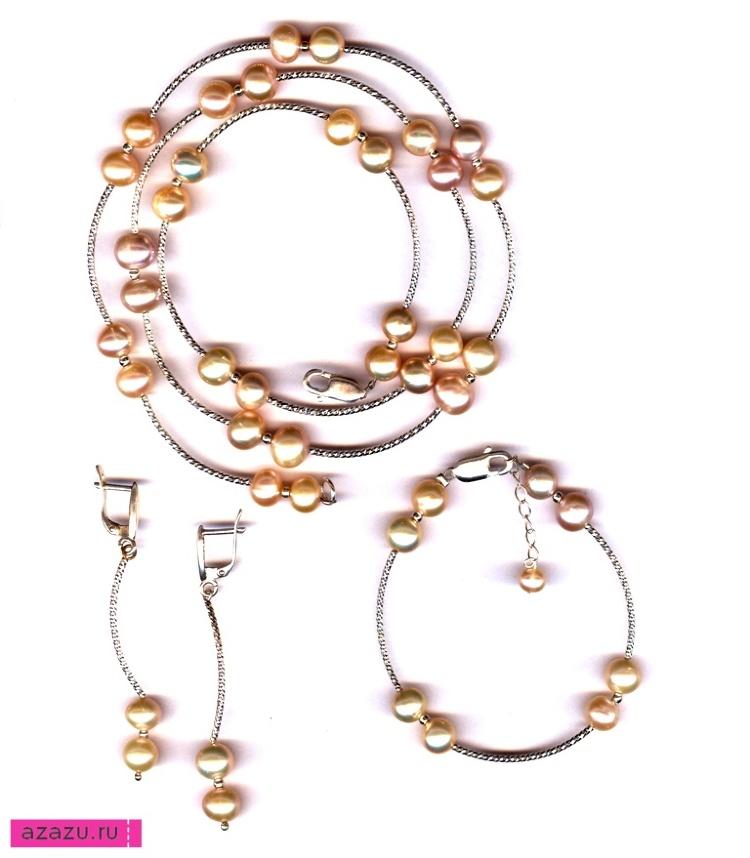 Комплект украшений с серебром и розовым жемчугом *5589 Натуральный розовый жемчуг нежного пастельного оттенка, серебряные трубочки и замочки.