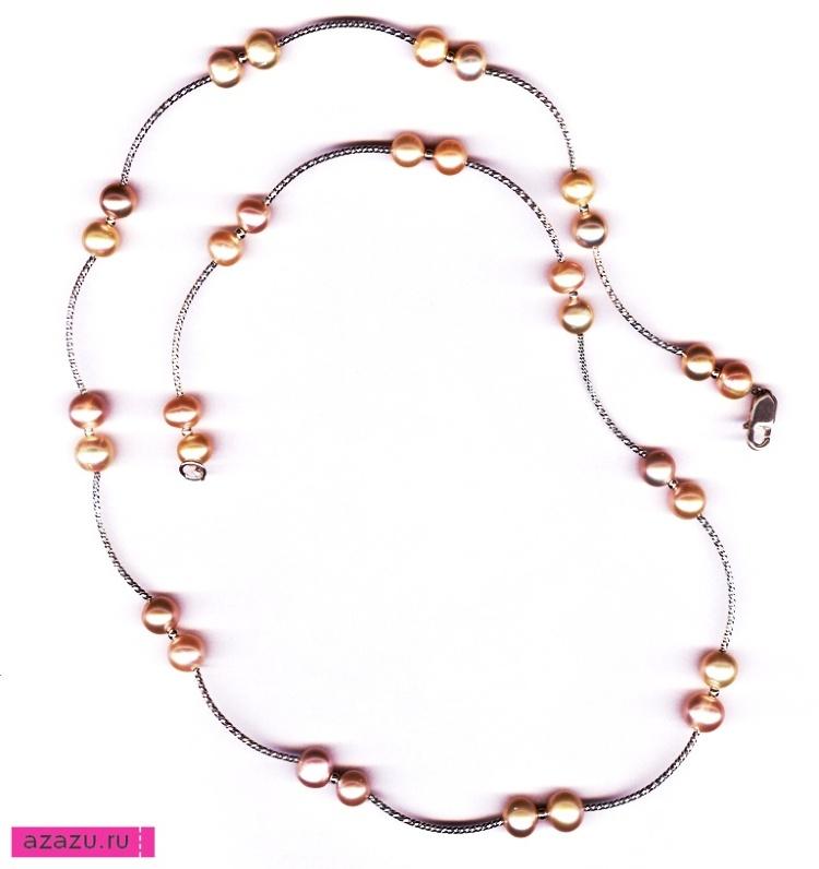 Бусы серебряные из 30 жемчужин розовых *5592 Бусы длиной 60 см из серебряных трубочек. Замочек из серебра. Натуральные розовые жемчужины.