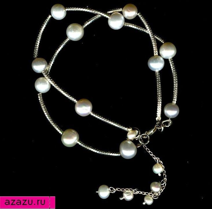 Браслет многорядный из серебра и жемчуга *5693 Серебряный браслет с натуральными белыми жемчужинами. Регулируется по длине. Отличный подарок женщине.