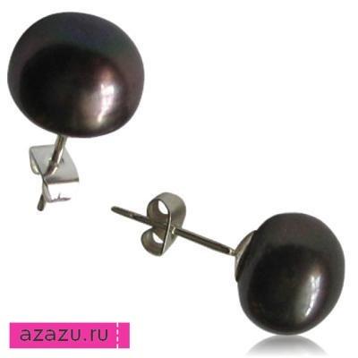 Пуссеты на серебряной ножке, крупная черная жемчужина *10984 Пуссета (серьга-гвоздик) на серебряной ножке, натуральная очень красивая, гладкая черная жемчужина (диаметр 6-7 мм). Материал: натуральный жемчуг, серебро.